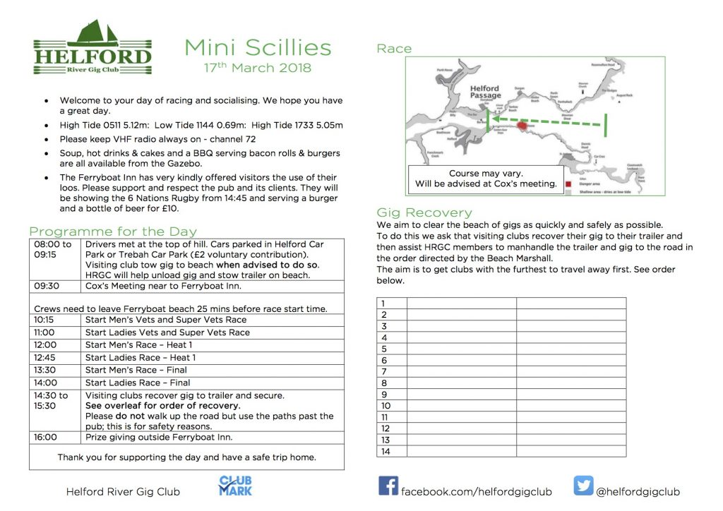 Mini Scillies: POSTPONED UNTIL 24th March 2018